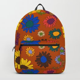 Funky Fall Harvest Floral in Terracotta Rust Backpack