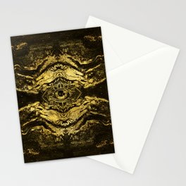 All Seeing eye golden texture on aged wood Stationery Cards