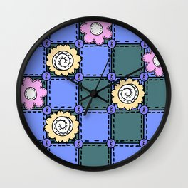 Retro Vintage Style Doodle Quilt - Green Blue Pink Wall Clock
