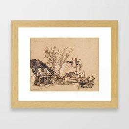 Two Cottages  Rembrandt (Rembrandt van Rijn) (Dutch, Leiden 1606–1669 Amsterdam) Framed Art Print