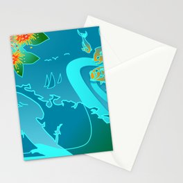 NZ Map With Pohutukawa Fish and Boats Stationery Cards