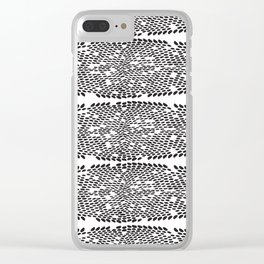 Snake skin scales texture. Seamless pattern black on white background. simple ornament Clear iPhone Case