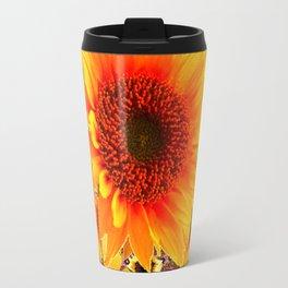 GOLDEN SUNFLOWER BUTTERFLIES MODERN ART DESIGN Travel Mug