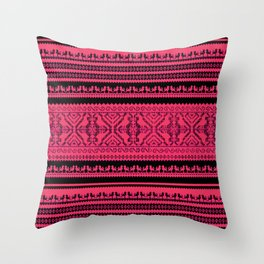 nordic pattern with singing birds Throw Pillow