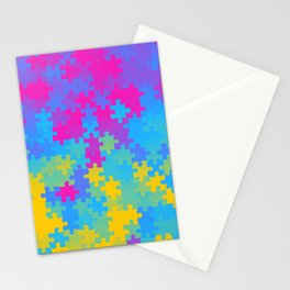 Pansexual Pride Puzzle Pieces Pattern Stationery Cards
