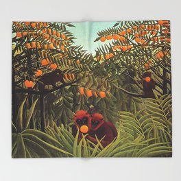 Apes in the Orange Grove by Henri Rousseau 1910 // Colorful Jungle Animal Landscape Scene Throw Blanket
