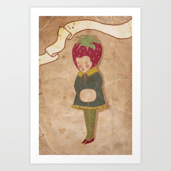 Strawberry head  Art Print