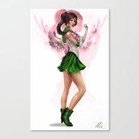 sailor jupiter Canvas Prints featuring Sailor Jupiter by KlsteeleArt