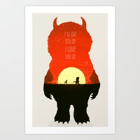 wild things Art Prints featuring Wild Things by Duke Dastardly
