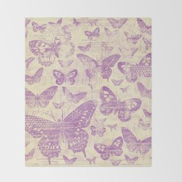 purple, vintage, butterflies, parchment Throw Blanket
