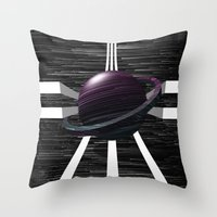 saturn Throw Pillows featuring Saturn by Isaak_Rodriguez
