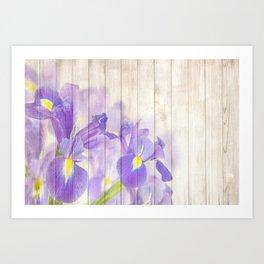 Romantic Vintage Shabby Chic Floral Wood Purple Art Print