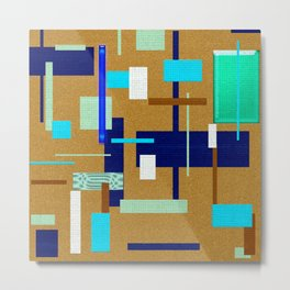 Blue, Green, and Brown Pattern, Abstract Rectangles Metal Print