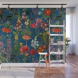 Vintage & Shabby Chic - Blue Midnight Spring Botancial Flower Garden Wall Mural