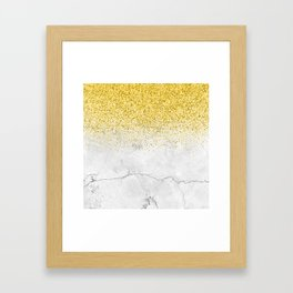 Gold Glitter and Grey Marble texture Framed Art Print
