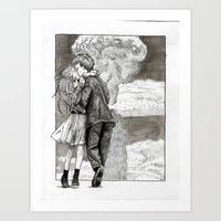 Kissing Explosion Art Print