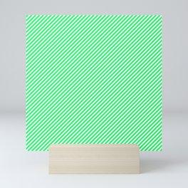 Mini Lanai Lime Green - Acid Green and White Candy Cane Stripe Mini Art Print
