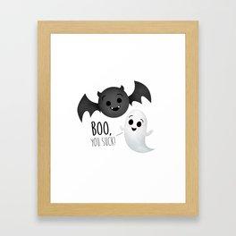 Boo, You Suck! (Ghost & Vampire Bat) Framed Art Print