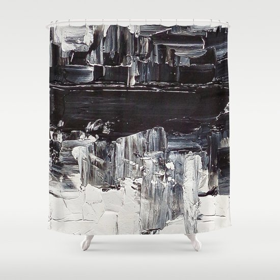 Flatline - black & white abstract painting Shower Curtain