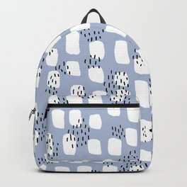 Spotted series messy abstract dashes blue black and white raw paint spots Backpack