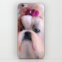 shih tzu iPhone & iPod Skins featuring Little Girl Shih Tzu by Jai Johnson