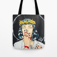 mia wallace Tote Bags featuring Mother Mia (Mia Wallace) by Rob Regis | #ARTLORDXXX