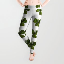 Artistic Black Outlined Shamrock Repeat Pattern Leggings