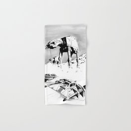 A snowspeedery day on Hoth (Black and White version) Hand & Bath Towel