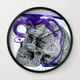Secret's untolds- purple dragon on celtic skull Wall Clock