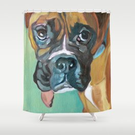 Drako the Rescued Boxer Shower Curtain