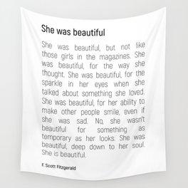 She Was Beautiful By F. Scott Fitzgerald 2 #minimalism #poem Wall Tapestry