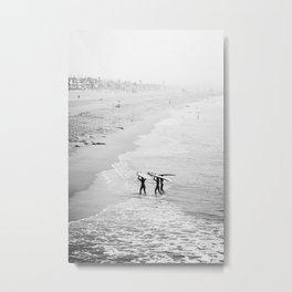 Surfers Exiting the Water in Manhattan Beach California Metal Print