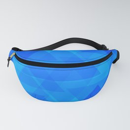Bright blue and celestial triangles in the intersection and overlay. Fanny Pack