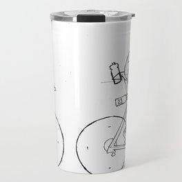 Transitions through Triathlon Cyclists Drawing A Travel Mug