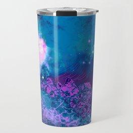 """The Crystal Forest"" (Blue/Pink) Digital Painting // Fine Art Print Travel Mug"