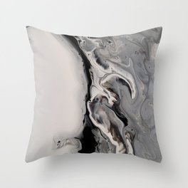 Silver Streak - Fluid Acrylic Abstract Flow Painting Throw Pillow