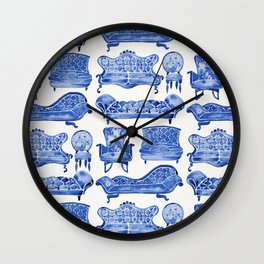 Victorian Lounge – Navy Palette Wall Clock