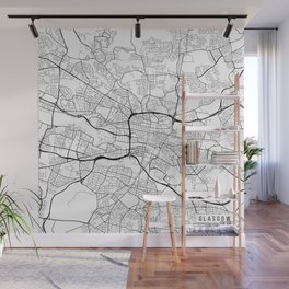 Glasgow Map, Scotland - Black and White Wall Mural