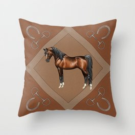 Dark Bay Arabian Horse with 4 White Socks Throw Pillow
