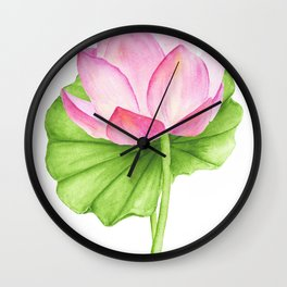 Abstract pink lotus on white background Wall Clock