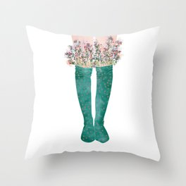 cotton bouquet Throw Pillow