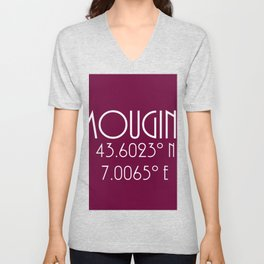 Mougins Latitude Longitude Unisex V-Neck