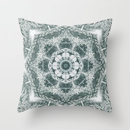 Winter snowy spruce forest mandala Throw Pillow