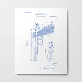 Automatic Loading Firearm Vintage Patent Hand Drawing Metal Print