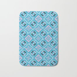 Nuts and Bolts Modern Spanish tile pattern // blue and pink Bath Mat