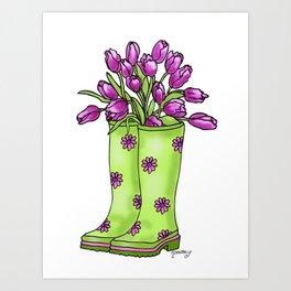 Rain Boots With Tulips Art Print