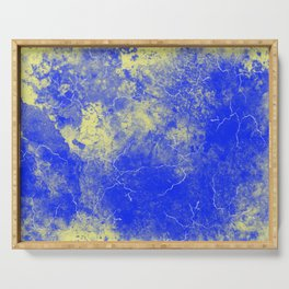 Cool Blue Yellow Marble Pattern Gift Serving Tray