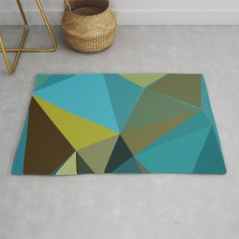 Abstract Blue Gold Low Poly Geometric Rug