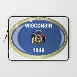 Wisconsin State Flag Oval Button Laptop Sleeve