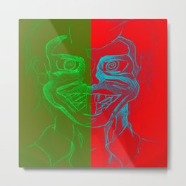 Split Personality; The Joker and Two Face Metal Print